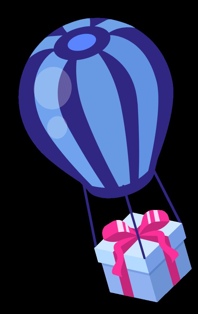 j'aide mes commerçants illustrations ballon qui vole avec un cadeau