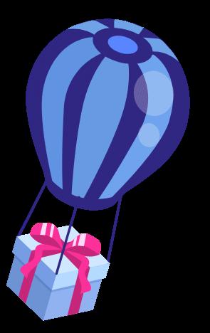 j'aide mes commerçants illustrations ballon qui transporte vos bons cadeaux